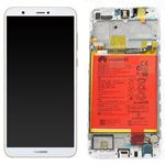 Genuine Huawei P Smart Complete lcd and touchpad with battery in White - Part no: 02351SVE