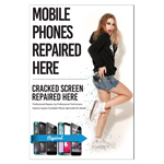 New Design A2 Glossy Posters Mobile Phone Repaired Here & Cracked Screen Repaired Here