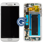 Genuine Samsung Galaxy S7 Edge (SM-G935F) Complete lcd and touchpad with frame in White - Part no: GH97-18533D