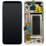 Genuine Samsung S8 (SM-G950) Complete lcd and touchpad with frame assembly unit in Silver - Part no: GH97-20457B