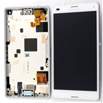 Genuine Sony Xperia Z3 Compact (D5803) Front cover with touchpad and lcd in white - Sony Part no: 1289-2680