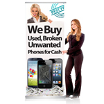 Pull Up Banner Stand for Shop Display Showing We buy Used, Broken, Unwanted phones for cash - Shipped to UK Only